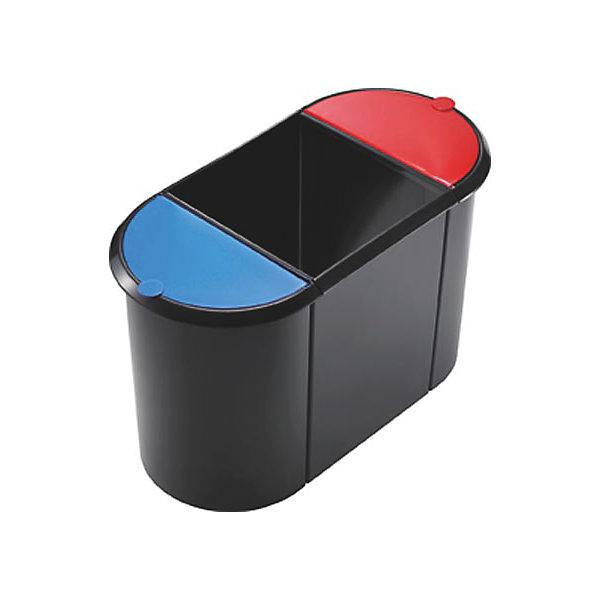TRIO System-Papierkorb - 2 kleine Behälter mit Deckel  1 großer Behälter ohne Deckel - Deckel blau / rot  Korpus