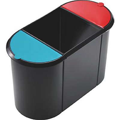 helit TRIO helit System-Papierkorb - 2 kleine Behälter mit Deckel, 1 großer Behälter ohne Deckel