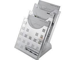 helit Présentoir de table à pied transparent - 3 casiers