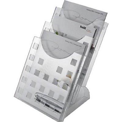 helit Tischaufsteller mit transparentem Standfuß - 3 Fächer - HxBxT 330 x 240 x 300 mm, VE 4 Stk