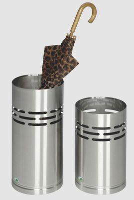 2-teiliges Set, Schirmständer und Papierkorb - Edelstahl, matt gebürstet, Vollblech mit dekorativer Stanzung - Ø 230 mm
