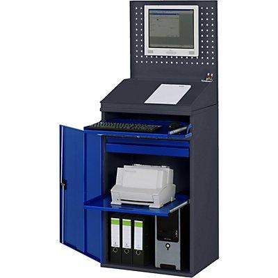 RAU Computer-Arbeitsstation - Lochwand, Schreibpult, Ausziehboden, Schublade