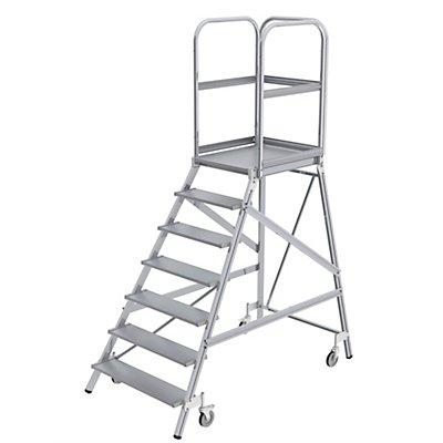Podestleiter mit einseitigem Aufstieg - Plattform und Stufen aus Leichtmetall - 3 Stufen inkl. Plattform