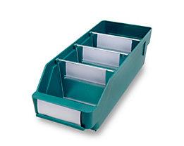 Regalkasten aus hochschlagfestem Polypropylen - grün - LxBxH 300 x 118 x 95 mm, VE 30 Stk