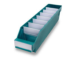 Regalkasten aus hochschlagfestem Polypropylen - grün - LxBxH 400 x 90 x 95 mm, VE 40 Stk