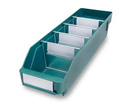 Regalkasten aus hochschlagfestem Polypropylen - grün - LxBxH 400 x 118 x 95 mm, VE 30 Stk