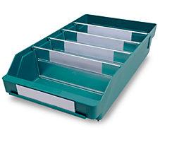 Regalkasten aus hochschlagfestem Polypropylen - grün - LxBxH 400 x 240 x 95 mm, VE 15 Stk