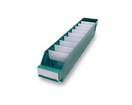 Regalkasten aus hochschlagfestem Polypropylen - grün - LxBxH 500 x 90 x 95 mm, VE 40 Stk