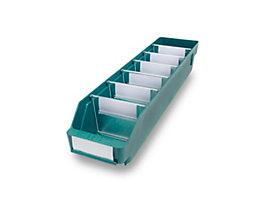 Regalkasten aus hochschlagfestem Polypropylen - grün - LxBxH 500 x 118 x 95 mm, VE 30 Stk