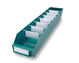 Regalkasten aus hochschlagfestem Polypropylen - grün - LxBxH 600 x 118 x 95 mm, VE 30 Stk