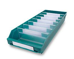 Regalkasten aus hochschlagfestem Polypropylen - grün - LxBxH 600 x 240 x 95 mm, VE 15 Stk