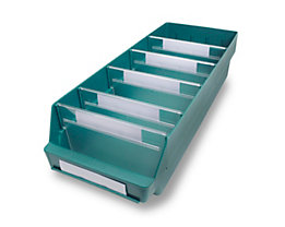Regalkasten aus hochschlagfestem Polypropylen - grün - LxBxH 600 x 240 x 150 mm, VE 10 Stk