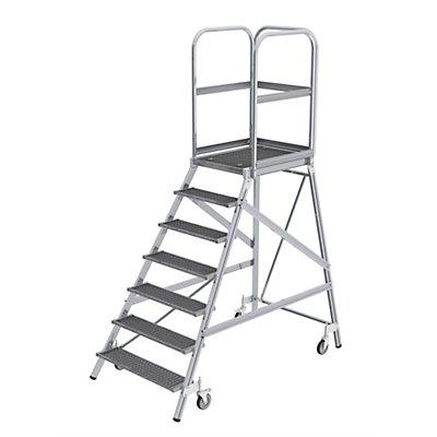 Günzburger Steigtechnik Podestleiter mit einseitigem Aufstieg - Plattform und Stufen aus Gitterrost