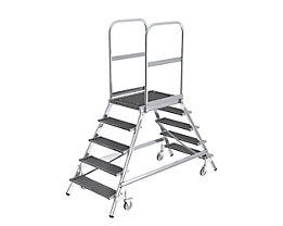 Podestleiter mit zweiseitigem Aufstieg - Plattform und Stufen aus Gitterrost - 2 x 5 Stufen inkl. Plattform