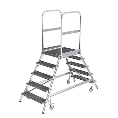 Günzburger Steigtechnik Podestleiter mit zweiseitigem Aufstieg - Plattform und Stufen aus Gitterrost