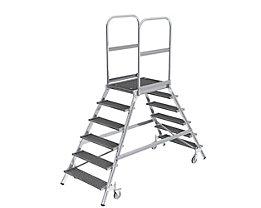 Podestleiter mit zweiseitigem Aufstieg - Plattform und Stufen aus Gitterrost - 2 x 6 Stufen inkl. Plattform