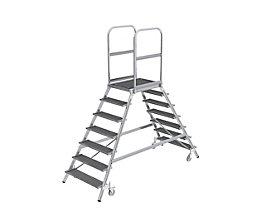 Podestleiter mit zweiseitigem Aufstieg - Plattform und Stufen aus Gitterrost - 2 x 7 Stufen inkl. Plattform