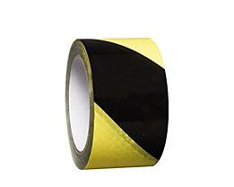 MORAVIA Bodenmarkierungsband aus Vinyl, zweifarbig - Breite 75 mm - gelb / schwarz, VE 8 Rollen