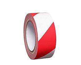 MORAVIA Bodenmarkierungsband aus Vinyl, zweifarbig - Breite 50 mm - rot / weiß, VE 8 Rollen