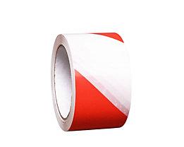 MORAVIA Bodenmarkierungsband aus Vinyl, zweifarbig - Breite 75 mm - rot / weiß, VE 16 Rollen