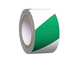 MORAVIA Bodenmarkierungsband aus Vinyl, zweifarbig - Breite 75 mm - grün / weiß, VE 16 Rollen