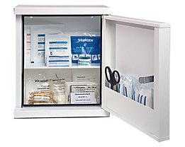 Verbandschrank nach DIN 13157 - eintürig, weiß, HxBxT 420 x 360 x 200 mm - mit Inhalt