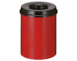Papierkorb, flammverlöschend - Inhalt 15 l, Höhe 360 mm - rot / schwarz