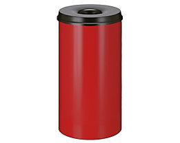 Papierkorb, flammverlöschend - Inhalt 50 l, Höhe 625 mm - Korpus rot RAL 3000 / Löschkopf schwarz RAL 9011