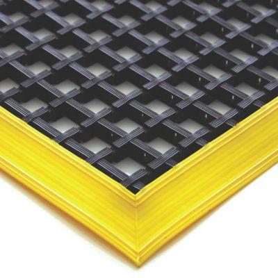 Anti-Ermüdungsmatte, schwarz, einfach gewebt - mit gelben abgeschrägten Kanten