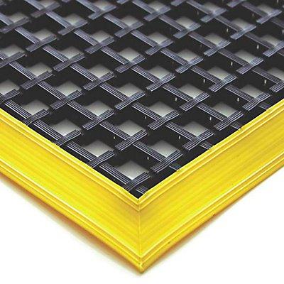 COBA Anti-Ermüdungsmatte, schwarz, einfach gewebt - mit gelben abgeschrägten Kanten