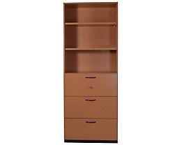 office akktiv CARINA Armoire et rayonnage de bureau combinés - 3 tiroirs pour dossiers suspendus, 2 tablettes visibles