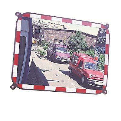 MORAVIA Verkehrsspiegel aus Sekurit-Glas - rahmenlos, mit rot/weiß reflektierenden Blickfangrand