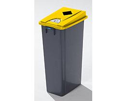 Kunststoff-Wertstoffsammler - Volumen 80 l - Einwurf eckig, Wertstoffpiktogramme