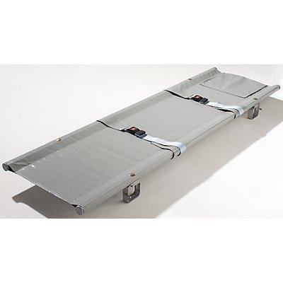 Krankentrage - 1 x klappbar, Faltmaße 1920 x 150 x 145 mm - 2 Sicherheitsgurte, 4 Gleitfüße
