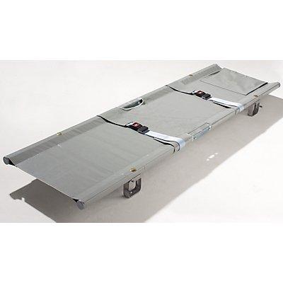 Krankentrage - 2 x klappbar, Faltmaße 1040 x 130 x 180 mm - 2 Sicherheitsgurte, 4 Gleitfüße