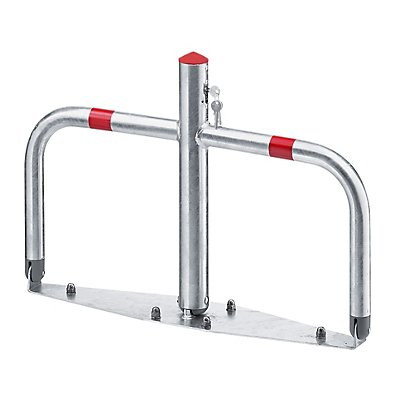 Barrière de parking en acier, rabattable - serrures à cylindre (serrures différentes pour plusieurs potelets)