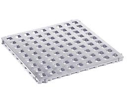 Kunststoff-Bodenrost, Polyethylen - 500 x 500 mm, Standard, VE 20 Stk - lichtgrau