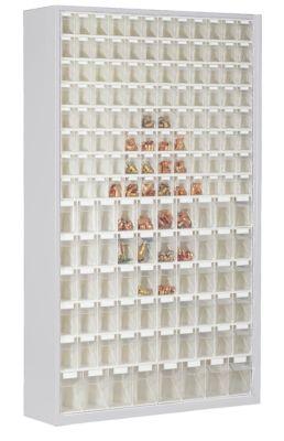 Magazinschrank aus Stahlblech - mit 154 transparenten Klappkästen
