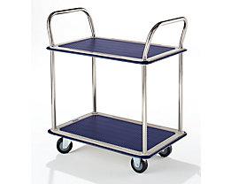 Tischwagen verchromt - 2 Ladeflächen mit Antirutschbelag, 2 Schiebebügel - Tragfähigkeit 150 kg