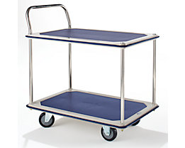Tischwagen verchromt - 2 Ladeflächen mit Antirutschbelag, 1 Schiebebügel