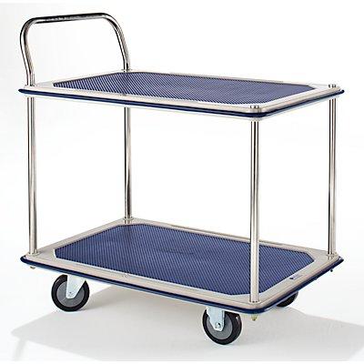 Tischwagen verchromt - 2 Ladeflächen mit Antirutschbelag, 1 Schiebebügel, Stoßschutzprofil