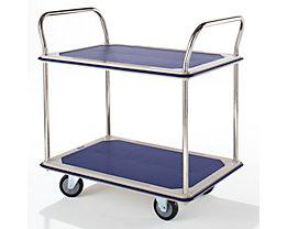 Tischwagen verchromt - 2 Ladeflächen mit Antirutschbelag, 2 Schiebebügel - Tragfähigkeit 250 kg