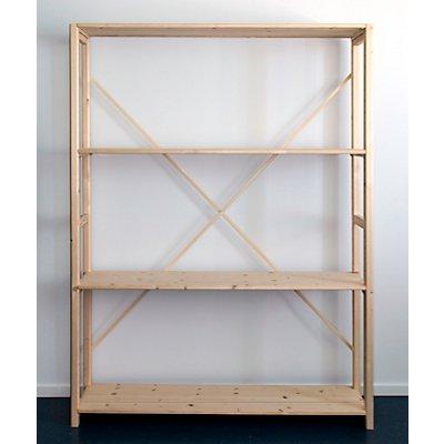 Rayonnage emboîtable en bois massif, peinture d'apprêt, surface dépolie - largeur tablettes 1300 mm, hauteur rayonnage 1780 mm