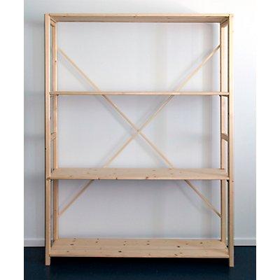 Rayonnage emboîtable en bois massif raboté et poli - largeur tablettes 1300 mm, hauteur rayonnage 1780 mm