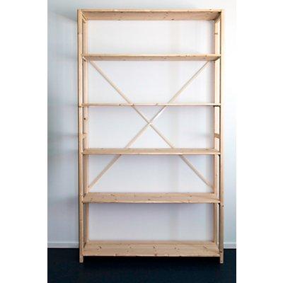 Rayonnage emboîtable en bois massif raboté et poli - largeur tablettes 1300 mm, hauteur rayonnage 2330 mm
