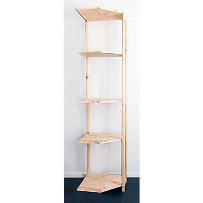 Rayonnage additionnel d'angle en bois massif, peinture d'apprêt, surface dépolie - hauteur rayonnage 2080 mm