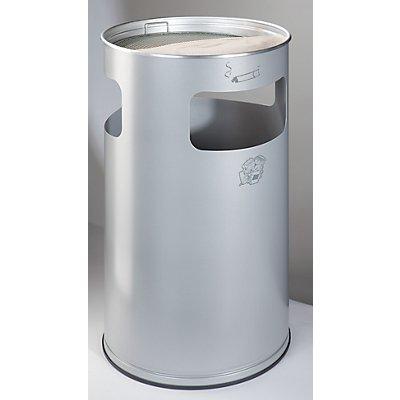 Combiné cendrier-poubelle avec cendrier à remplir de sable - hauteur 760 mm, Ø 420 mm