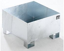QUIPO Auffangwanne aus Stahlblech - LxBxH 800 x 800 x 465 mm, feuerverzinkt