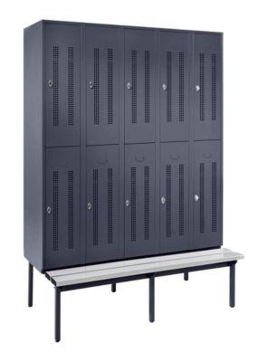 Halbhohe Garderobenschränke mit Sitzbankuntergestell - 300 mm, 10