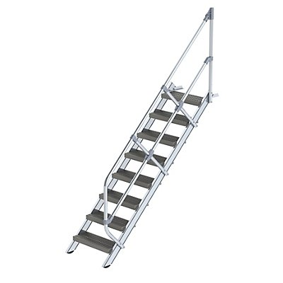 Günzburger Steigtechnik Industrie-Treppe - Stahl-Lochblechstufen, Stufenbreite 600 mm